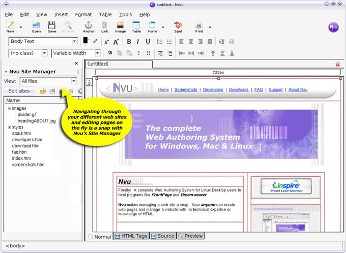 Nvu Web Authoring Software