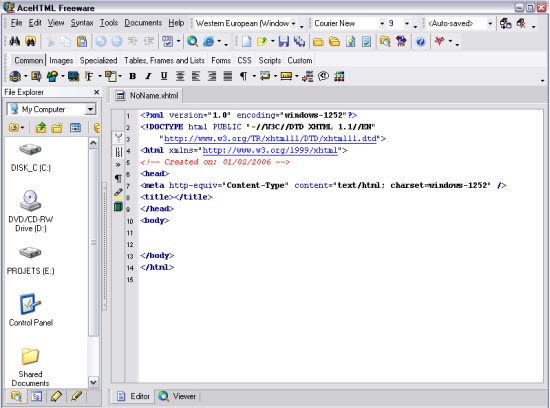 AceHTML, a Free HTML Editor
