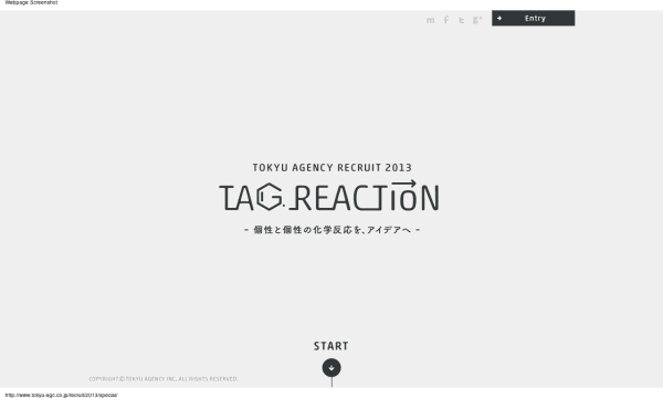 TAG REACTION   RECRUIT 採用サイト   Tokyu Agency Inc.