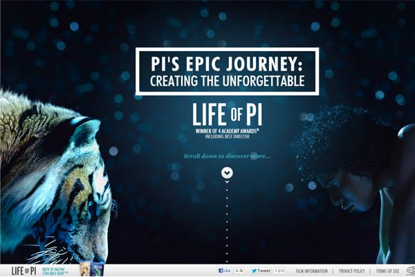 Life of Pi with parallax effect