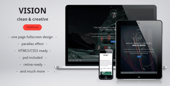 VISION clean, creative, parallax one page template