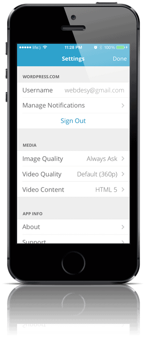Settings in WordPress App for iPhone 5s
