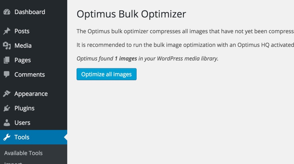 optimize all image button