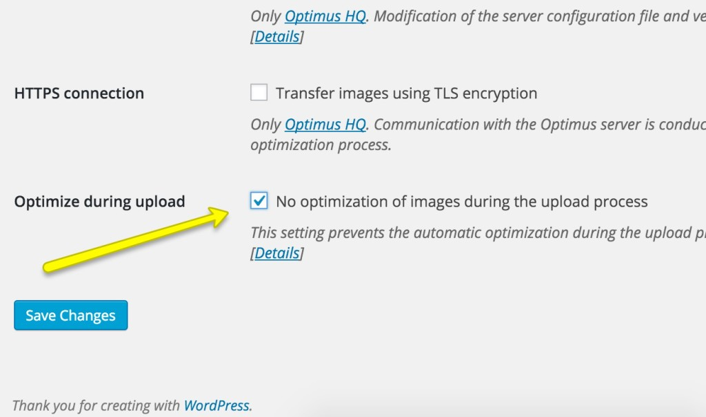 optimize during upload optimus