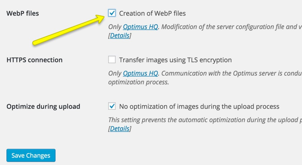 webp files optimus
