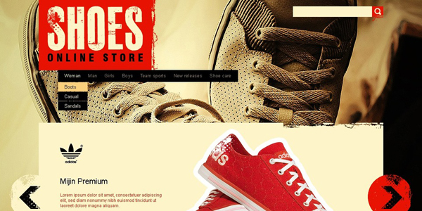 Website Designs for Shoe and Shoelace